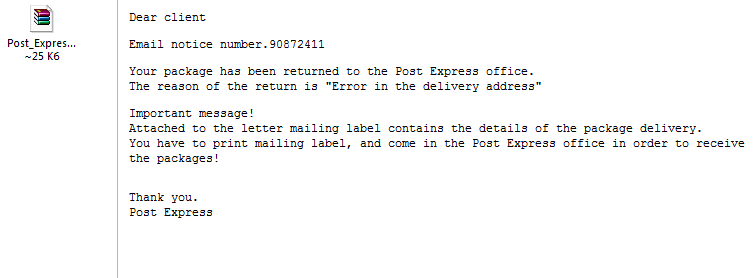 Post Express Package Virus
