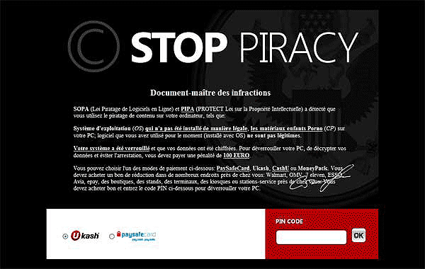 Stop Piracy Ransomware Virus