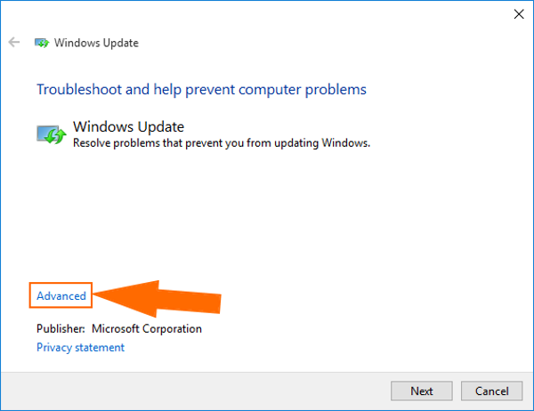 windows 10 troubleshoot windows update advanced settings