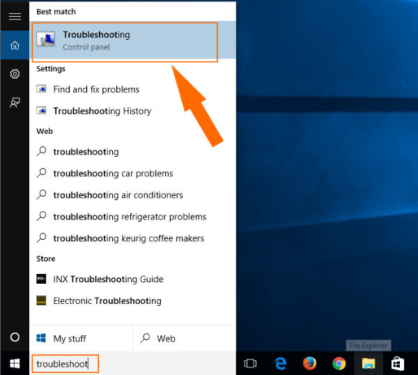 windows 10 search troubleshoot